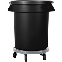 Carlisle Bronco 20 Gallon Black Trash Can with Lid and Dolly