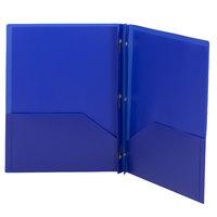 Smead 87726 Letter Size 2-Pocket Poly Pocket Folder - Tang Fasteners, Blue - 25/Box