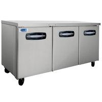 Nor-Lake NLUR72A-015 AdvantEDGE 72 inch Undercounter Refrigerator with Door Locks - 20.5 Cu. Ft.