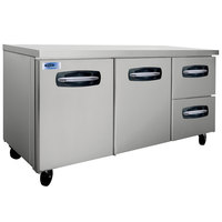 Nor-Lake NLUR72A-002 AdvantEDGE 72 inch Undercounter Refrigerator with 2 Doors and 2 Right Side Drawers