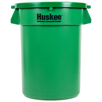 Continental Huskee 32 Gallon Green Trash Can with Green Lid