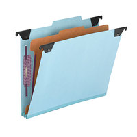Smead 65105 8 1/2 inch x 11 inch Blue Four Section Pressboard / Kraft Hanging Classification Folder - Letter