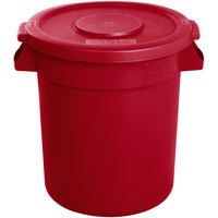 Carlisle Bronco 10 Gallon Red Trash Can with Lid