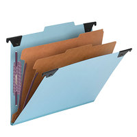 Smead 65115 8 1/2 inch x 11 inch Blue Six Section Pressboard / Kraft Hanging Classification Folder - Letter