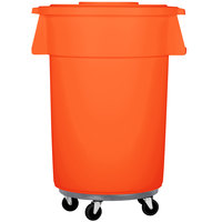 Carlisle Bronco 44 Gallon Orange Trash Can with Lid and Dolly