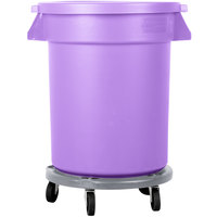 Carlisle Bronco 20 Gallon Purple Trash Can with Lid and Dolly
