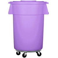 Carlisle Bronco 44 Gallon Purple Trash Can with Lid and Dolly