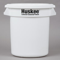 Continental Huskee 10 Gallon White Ingredient Bin / Trash Can with White Lid
