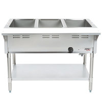 APW Wyott WGST-3 Champion Liquid Propane Sealed Well Three Pan Steam Table - Galvanized Undershelf and Legs