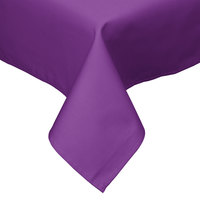 54 inch x 54 inch Square Purple Hemmed Polyspun Cloth Table Cover