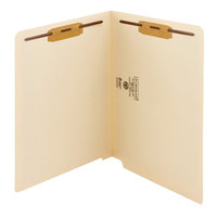 Smead 34115 Shelf-Master Letter Size Fastener Folder with 2 Fasteners - Reinforced Straight Cut End Tab, Manila - 50/Box
