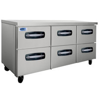 Nor-Lake NLUR72A-001 AdvantEDGE 72 inch Undercounter Refrigerator with Six Drawers