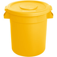 Carlisle Bronco 10 Gallon Yellow Trash Can with Lid