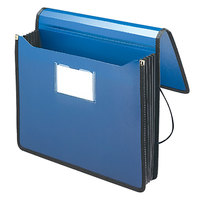 Smead 71503 Letter Size Poly Expansion Wallet - 5 1/4 inch Expansion with Flap and Cord Closure, Navy Blue
