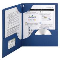 Smead 87982 Lockit Textured Letter Size 2-Pocket Paper Pocket Folder, Dark Blue - 25/Box