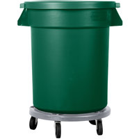 Carlisle Bronco 20 Gallon Green Trash Can with Lid and Dolly