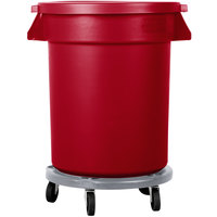 Carlisle Bronco 20 Gallon Red Trash Can with Lid and Dolly