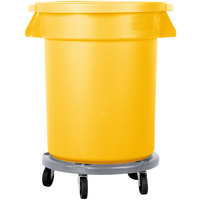 Carlisle Bronco 20 Gallon Yellow Trash Can with Lid and Dolly