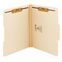 Smead 14595 Heavyweight Letter Size Fastener Folder with 2 Fasteners - Reinforced 1/3 Cut Assorted Tab, Manila - 50/Box