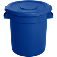 Carlisle Bronco 10 Gallon Blue Trash Can with Lid