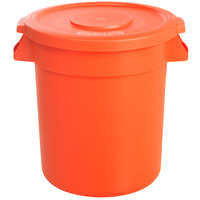 Carlisle Bronco 10 Gallon Orange Trash Can with Lid