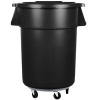 Carlisle Bronco 55 Gallon Black Trash Can with Lid and Dolly