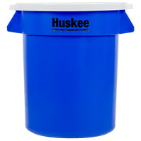 Continental Huskee 20 Gallon Blue Round Recycling / Trash Can with White Lid