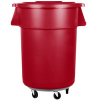 Carlisle Bronco 55 Gallon Red Trash Can with Lid and Dolly