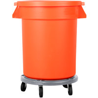 Carlisle Bronco 20 Gallon Orange Trash Can with Lid and Dolly