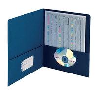 Smead 87854 Letter Size Heavyweight Textured 2-Pocket Paper Pocket Folder, Dark Blue - 25/Box