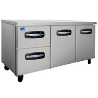Nor-Lake NLUR72A-003 AdvantEDGE 72 inch Undercounter Refrigerator with 2 Doors and 2 Left Side Drawers