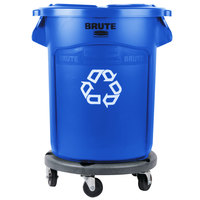Rubbermaid BRUTE 20 Gallon Blue Recycling Can with Lid and Dolly