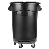Rubbermaid BRUTE 32 Gallon Black Executive Trash Can with Lid and Dolly