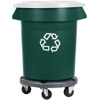 Rubbermaid BRUTE 20 Gallon Dark Green Recycling Can with White Lid and Dolly