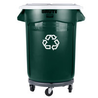 Rubbermaid BRUTE 32 Gallon Dark Green Recycling Can with White Lid and Dolly