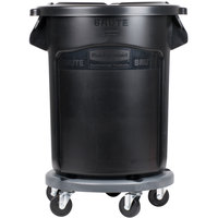 Rubbermaid BRUTE 20 Gallon Black Executive Trash Can with Lid and Dolly
