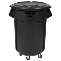Rubbermaid BRUTE 55 Gallon Black Executive Trash Can with Lid and Dolly