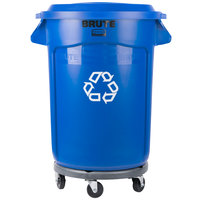 Rubbermaid BRUTE 32 Gallon Blue Recycling Can with Dolly and Recycling Lid with Paper Slot