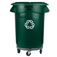 Rubbermaid BRUTE 32 Gallon Dark Green Recycling Can with Lid and Dolly