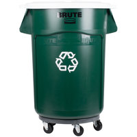 Rubbermaid BRUTE 44 Gallon Dark Green Recycling Can with White Lid and Dolly