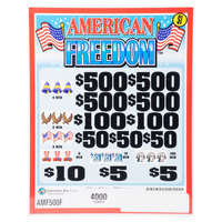 American Freedom 5 Window Pull-Tab Tickets - 4000 Tickets per Deal - $3000 Total Payout