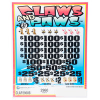 Claws and Paws 5 Window Pull-Tab Tickets - 2960 Tickets per Deal - $2208 Total Payout