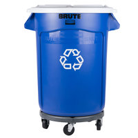 Rubbermaid BRUTE 32 Gallon Blue Recycling Can with White Lid and Dolly