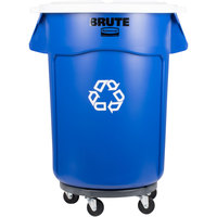 Rubbermaid BRUTE 44 Gallon Blue Recycling Can with White Lid and Dolly