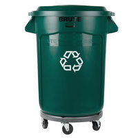 Rubbermaid BRUTE 32 Gallon Dark Green Recycling Can with Dolly and Recycling Lid with Paper Slot