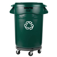 Rubbermaid BRUTE 32 Gallon Dark Green Recycling Can with Dolly and Recycling Lid with Hole