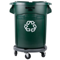 Rubbermaid BRUTE 20 Gallon Dark Green Recycling Can with Lid and Dolly