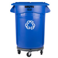 Rubbermaid BRUTE 32 Gallon Blue Recycling Can with Lid and Dolly