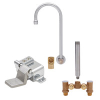 Fisher 22977 Backsplash Mounted Faucet with Temperature Control Valve, 6 inch Rigid Gooseneck Nozzle, 2.20 GPM Aerator, Floor Foot Pedal, and Elbow