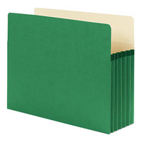 Smead 73236 Letter Size File Pocket - 5 1/4 inch Expansion with Straight Cut Tab, Green